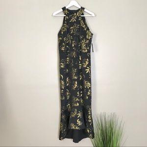 EnFocus Black Gold Floral Midi Mermaid Dress